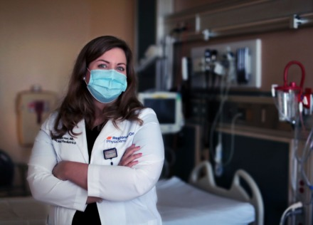<strong>The stress has engendered a sense of community, says Dr. Amber Thacker, medical director of hospital medicine at Regional One and team leader in the COVID-19 wing where she was photographed Sept. 11, 2020.</strong> (Patrick Lantrip/Daily Memphian)
