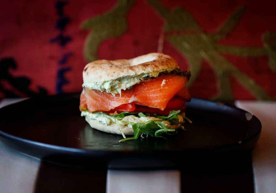 <strong>Hazel's Lucky Dice Delicatessen&rsquo;s UES &ldquo;Upper East Side&rdquo; features gravlax salmon, tomato, capers, lemon, bialy and a schmear.</strong> (Mark Weber/The Daily Memphian)