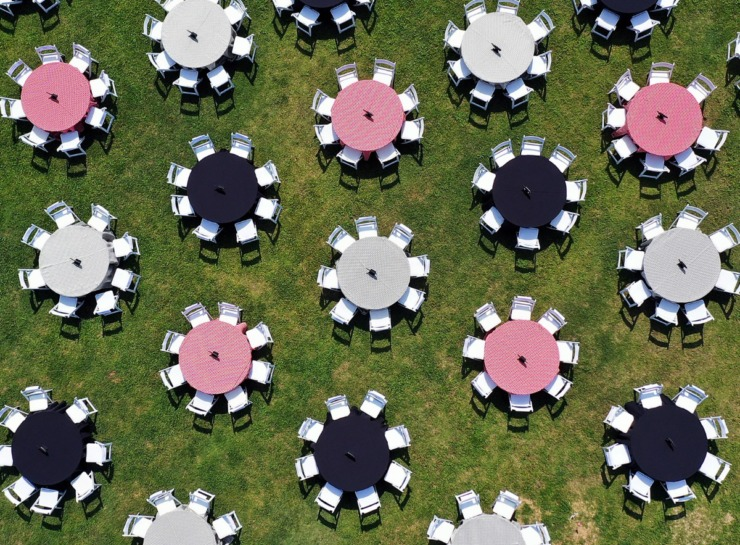 <strong>The national Live Events Coalition placed 48 empty tables in Tom Lee Park Sept. 15, 2020, each representing 250,000 live event workers who are struggling to find work.</strong> (Patrick Lantrip/Daily Memphian)