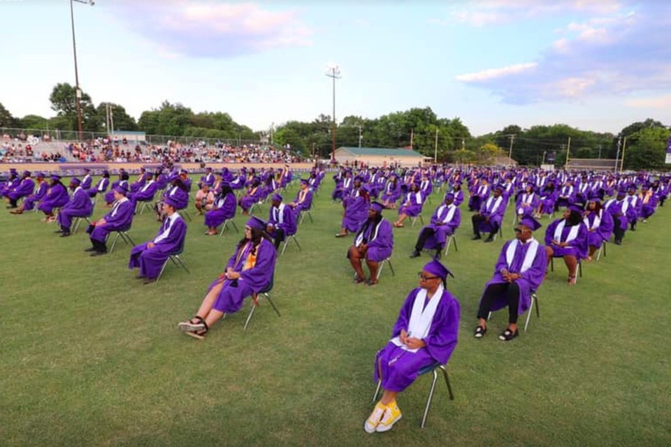 <strong>Haywood County (Tenn.) High School graduates the Class of 2020 during a socially distanced ceremony at its football field on June 13.</strong> (Courtesy of Chris McCain)