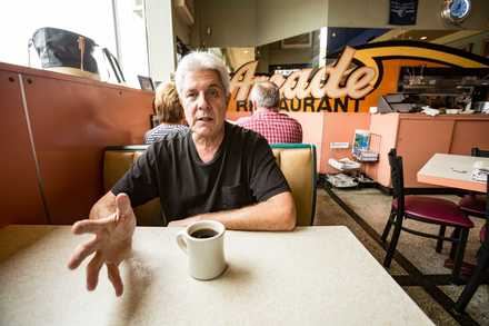 <strong>Third-generation Arcade Restaurant owner Harry Zepatos Jr., pictured in the diner's iconic front room in 2015, is among members of the Zepatos family planning an expansion and renovation of the restaurant and the larger Arcade Building.</strong> (Daily Memphian file)