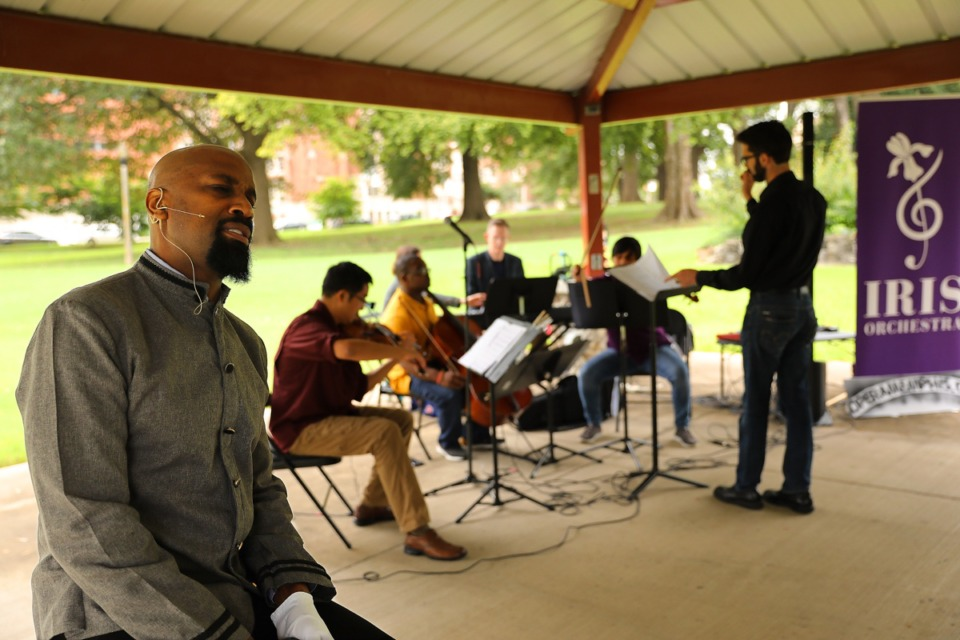 <strong>Iris Orchestra and Opera Memphis hold a lunchtime concert in Health Sciences Park Friday, Sept. 28, 2019. During the performance, baritone Darren Stokes performed Movin&rsquo; Up in the World accompanied by the Iris Artist Fellows Ensemble</strong>. (Patrick Lantrip/Daily Memphian file)