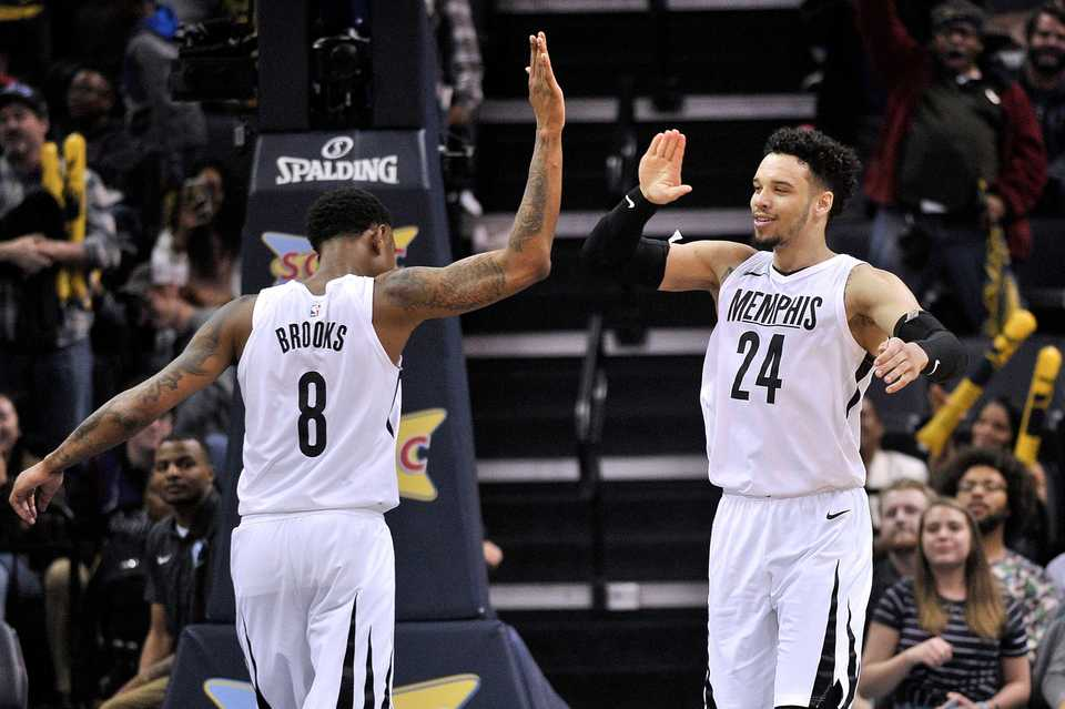 <span><strong>Memphis Grizzlies forward Dillon Brooks (24) and guard MarShon Brooks (8) high five each other during the second half of an NBA basketball game against the Sacramento Kings Friday, April 6, 2018, in Memphis, Tenn.</strong> (AP Photo/Brandon Dill)</span>
