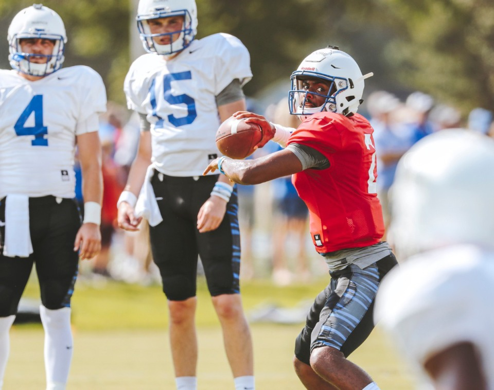<strong>In this 2018 file photo, Tigers football runs drills at the team&rsquo;s outdoor facility.</strong> (Houston Cofield/Daily Memphian file)
