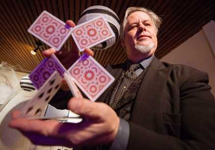 <strong>Magician Jeffrey Day performs a magic trick at Woodruff-Fontaine House during the Haunted Happenings Event this fall.</strong> (Ziggy Mack/For The Daily Memphian)