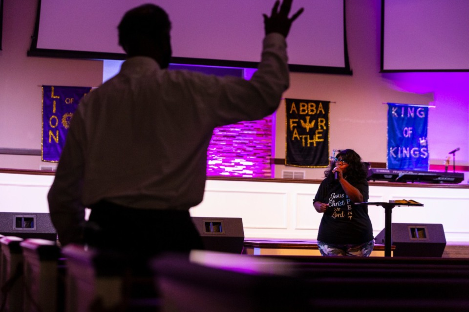<strong>Sharon Fields preaches during the 24-hour prayer event at Pursuit of God Church in Frayser on Saturday, Sept 19, 2020. Participants gathered in the church sanctuary, wearing masks and sitting apart.</strong> (Ziggy Mack/Special to Daily Memphian)