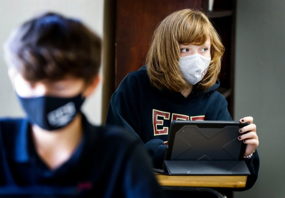 <strong>Evangelical Christian School eighth grader Samantha Boals wears a face mask while attending a Literature class on Thursday, Sept. 10, 2020.</strong> (Mark Weber/The Daily Memphian)