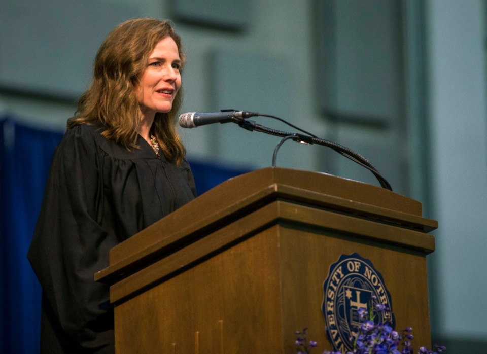 <strong>Amy Coney Barrett (speaking at the University of Notre Dame's Law School commencement in 2018) is one of four judges thought to be President Donald Trump&rsquo;s top contenders to fill a vacancy on the Supreme Court.</strong> (Robert Franklin /AP file)