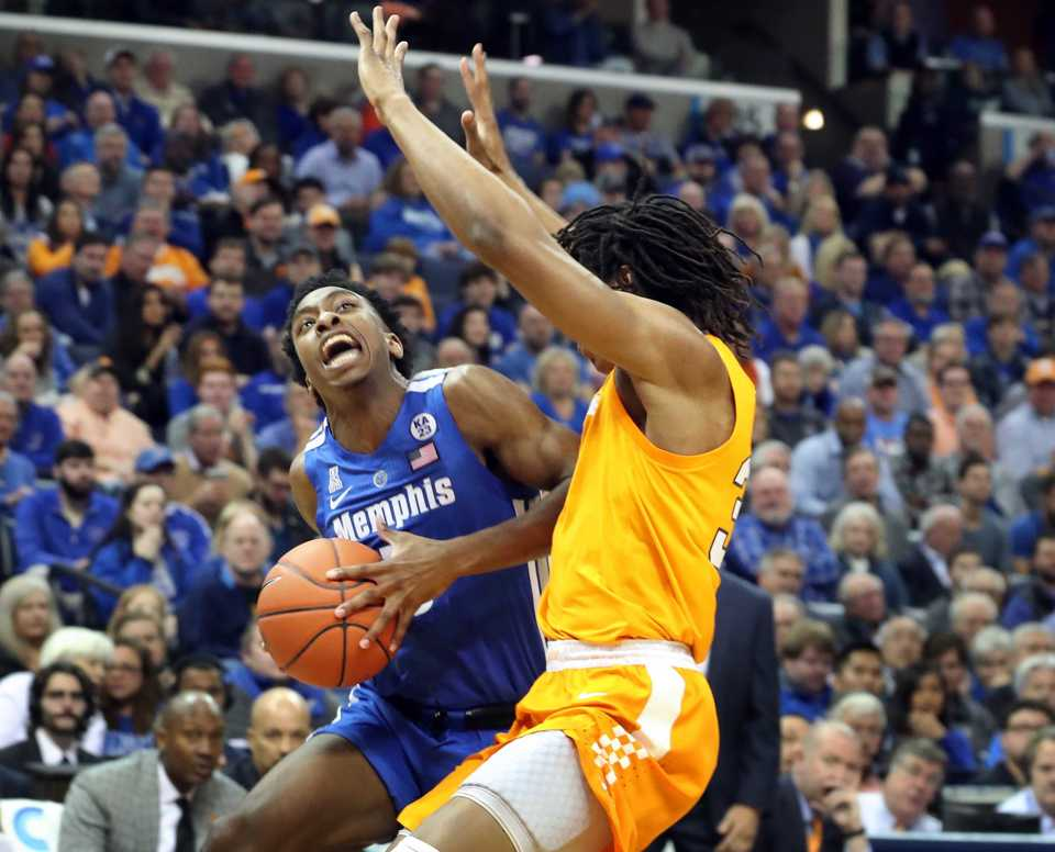 "<p class=""p1""><span class=""s1""><b>University of Memphis guard Kareem Brewton Jr. (5) goes up for a basket while guarded by University of Tennessee forward Yves Pons (35)&nbsp;during the Tigers game against the Volunteers at FedExForum in Memphis on Saturday, Dec. 16, 2018.</b> (Karen Pulfer Focht/Special to The Daily Memphian)</span>"