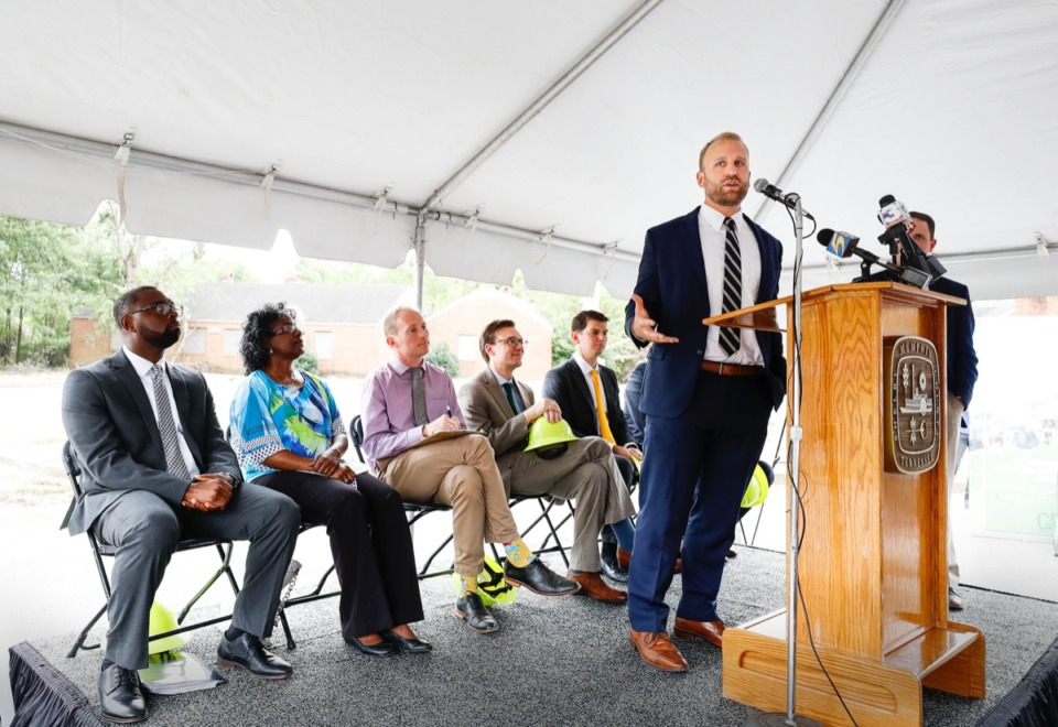 <strong>Noah Gray, (right), executive director of the Binghampton Development Corp. is pictured in a 2019 file photo. Gray&rsquo;s organization is creating a new neighborhood workforce development initiative hosted at the Power &amp; Tel warehouse on Yale Avenue.</strong> &nbsp;(Mark Weber/Daily Memphian)