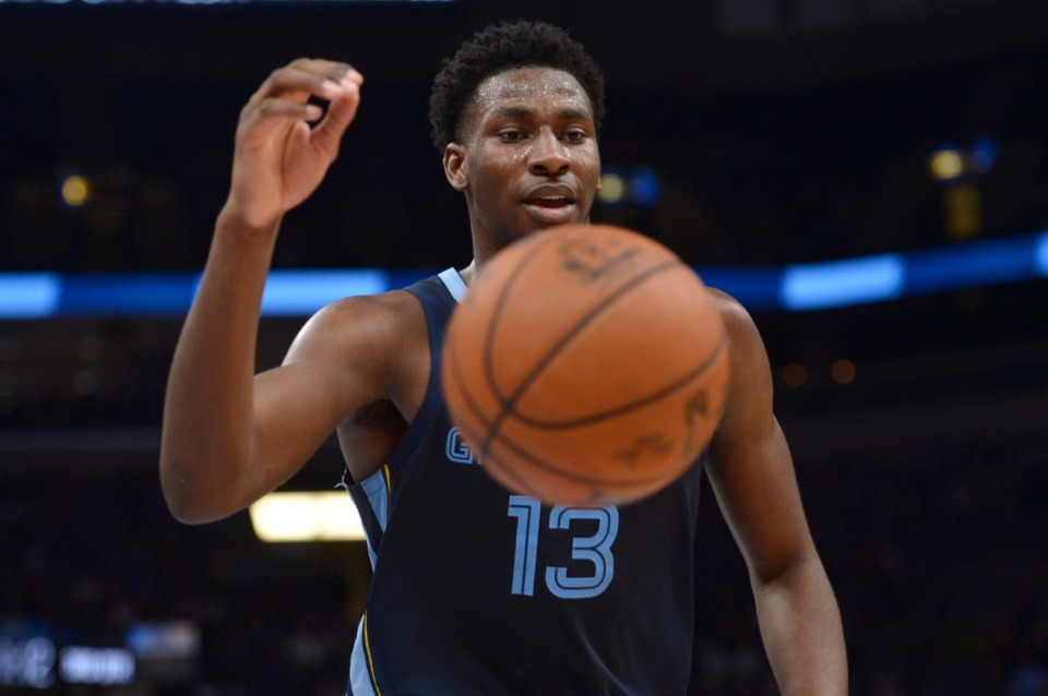 <strong>No Grizzlies player has been more vocal this election season than second-year star Jaren Jackson Jr., who wore &ldquo;Vote&rdquo; on the back of his jersey during the NBA&rsquo;s restart in Orlando. The team announced Wednesday, Sept. 23, that it will hold a drive-thru voter information drive on Saturday.</strong> (Brandon Dill/Associated Press file)