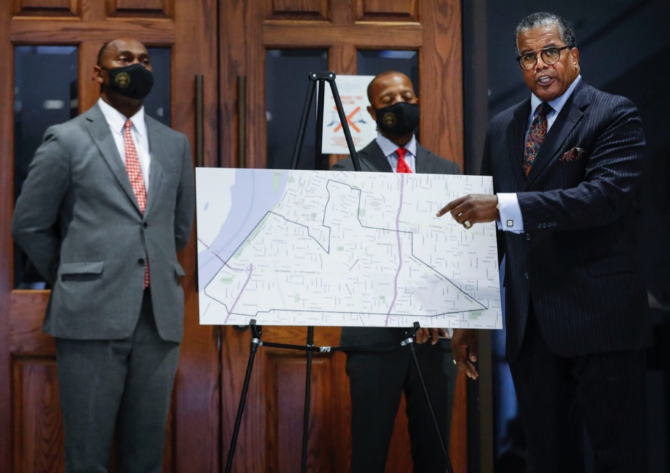 <strong>JW Gibson (right) with the Southeast Regional Development Corp. speaks during a press conference announcing a holistic redevelopment plan and application for a community-driven Tax Increment Financing district in South Memphis on Thursday, Sept. 24. The briefing was held at the Vasco A. Smith County Administration Building</strong>. (Mark Weber/Daily Memphian)