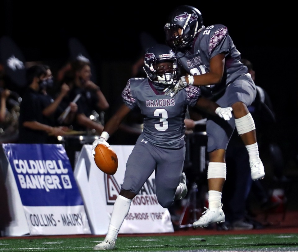 <strong>Collierville&rsquo;s John Hampton III (3) celebrates with teammates after recovering a fumble for a touchdown Sept. 25 in the home game against ECS.</strong> (Patrick Lantrip/Daily Memphian)