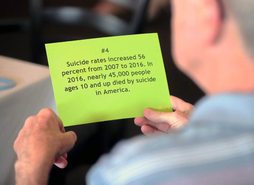 <strong>Fact sheets about suicide were distributed during a presentation to the July meeting of East Memphis Rotary Club at Windyke County Club.</strong> (Patrick Lantrip/Daily Memphian file)
