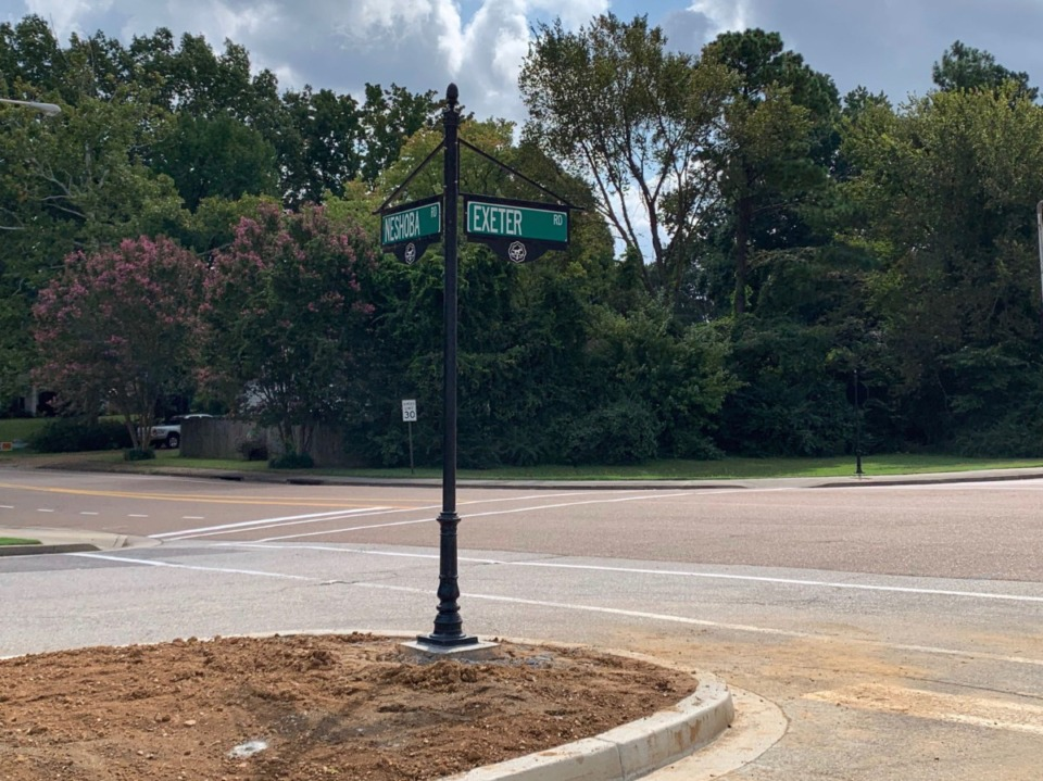 <strong>The intersection of Neshoba and Exeter roads in Germantown will be a four-way stop starting Monday, Sept. 28. A recent traffic study from the city showed the change was necessary.&nbsp;</strong>(Abigail Warren/Daily Memphian)