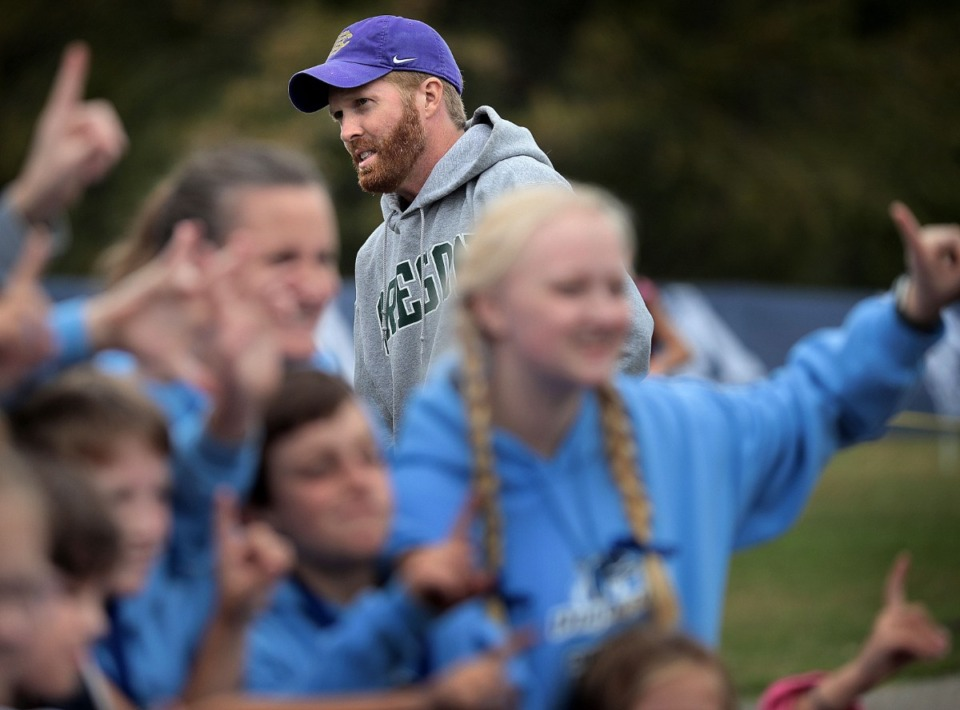 <strong>Christian Brother High School cross country coach Nick Dwyer (in a 2018 file photo from the regional Memphis Youth Athletics meet at Shelby Farms)&nbsp; originally formed the organization to bring cross country to students who haven't traditionally been represented.</strong> (Jim Weber/Daily Memphian)