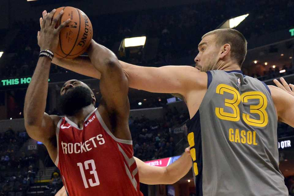 <strong>Houston Rockets guard James Harden (13) controls the ball against Memphis Grizzlies center Marc Gasol (33) in the first half of an NBA game Saturday, Dec. 15, 2018, in Memphis.</strong> (AP Photo/Brandon Dill)