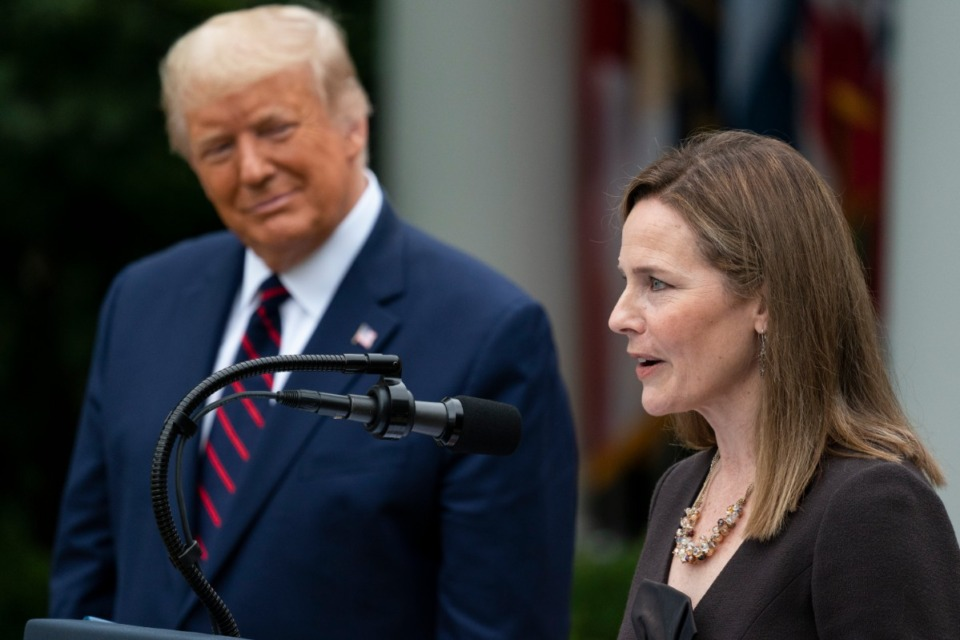 <strong>Judge Amy Coney Barrett speaks in the Rose Garden at the White House, Saturday, Sept. 26, 2020,&nbsp; after President Donald Trump&rsquo;s announcement that she is his nominee to the Supreme Court, .</strong> (Alex Brandon/AP)