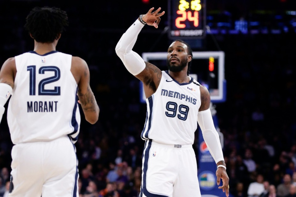 <strong>Jae Crowder (99), seen here in a Grizzlies uniform in January, is now in the championship game with the Miami Heat.</strong> (Frank Franklin II/AP file)