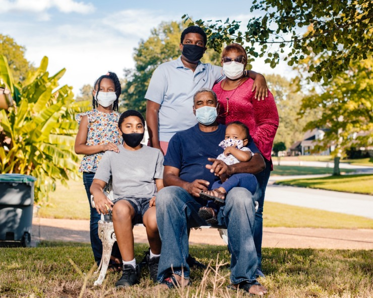 <strong>(From left) Reaghan Nichols, Royce Harper, Eddy Houston, Reginold Nichols, Brenda Nichols and Carter Nichols stand in their front yard in Bartlett.</strong> (Houston Cofield/Special to Daily Memphian)