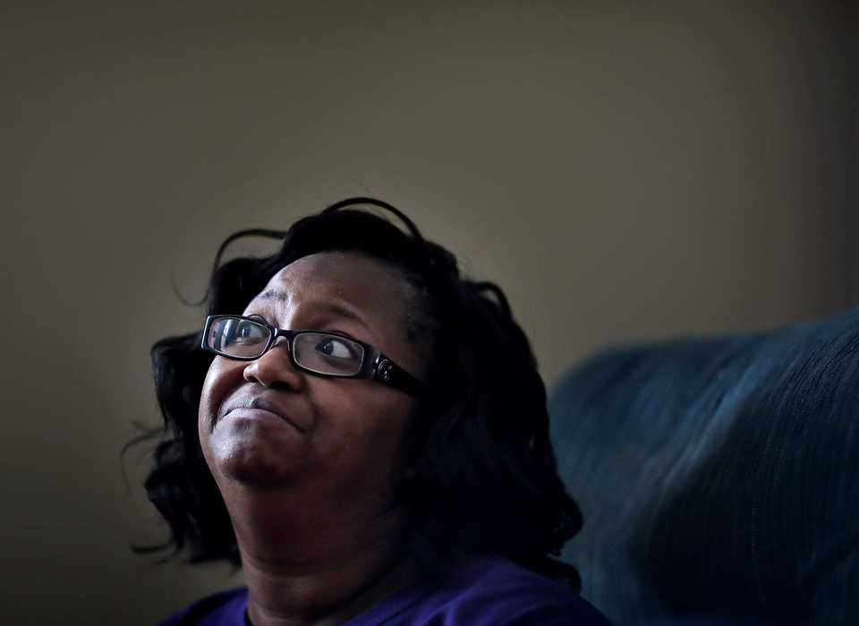 <strong>During an interview on Dec. 16, 2018, at her home, Sepia Coleman, 47, talks about how she felt when she learned St. Jude Children's Research Hospital had initiated a $15 minimum wage. Coleman, a certified nursing assistant who works at Hearthside Senior Living of Bartlett, makes $11 an hour. She hopes the move by St. Jude will put pressure on other health care providers in Memphis to adopt a similar policy.</strong> (Jim Weber/Daily Memphian)