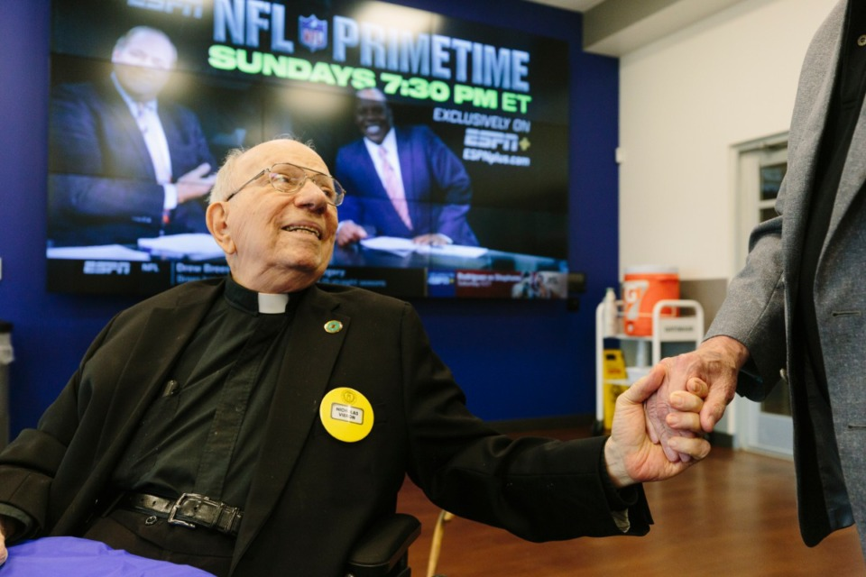 <strong>Father&nbsp;Nicholas&nbsp;Vieron&nbsp;leads benediction for weekly Tigers Touchdown Club meeting at University of Memphis South Campus on Sept. 16, 2019. </strong>(Ziggy Mack/Special to The Daily Memphian file)