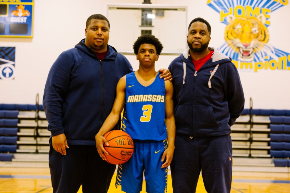 <strong>In this Jan. 28, 2019, file photo,&nbsp;Manassas basketball team&rsquo;s assistant coach Eric Robinson (father of Jaylen Robinson, center) and associate head coach Jerry Anthony, right, pose for a picture at Manasassas High School.</strong> (Daily Memphian file)