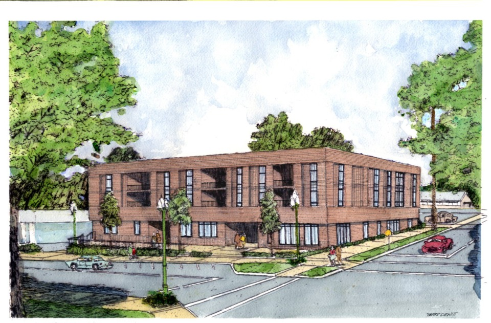 <strong>Collierville Planning Commission reviewed zoning for a mixed-use project south of Collierville Square. The proposed project has office and condominium units. </strong>(Submitted rendering)