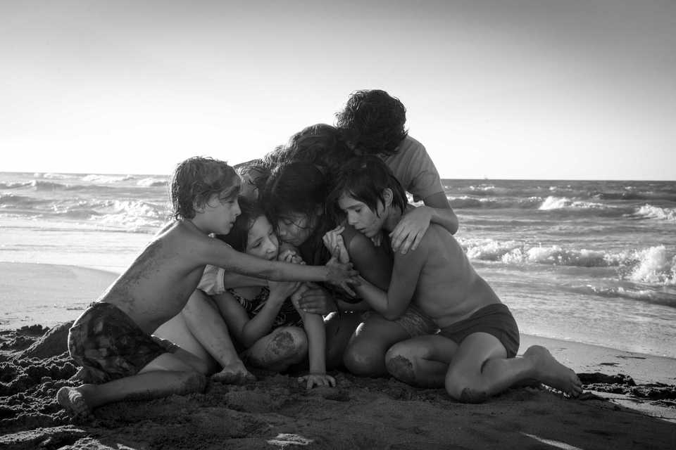 "<span><strong>Marco Graf (from left) as Pepe, Daniela Demesa as Sofi, Yalitza Aparicio as Cleo, Marina De Tavira as Sofia, Diego Cortina Autrey as Toño, Carlos Peralta Jacobson as Paco in ""Roma,"" written and directed by Alfonso Cuarón.</strong> (Carlos Somonte, Courtesy of Netflix)</span>"