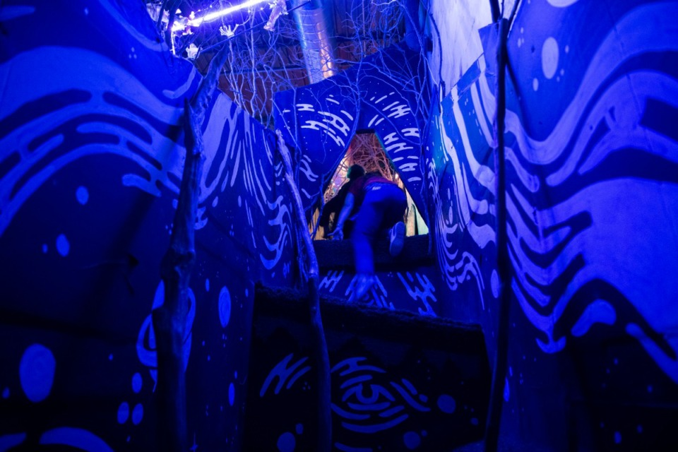 <strong>A visitor climbs though one of the portals of &ldquo;BVOE Quadrant 360.&rdquo;</strong> (Courtesy Christopher Reyes.)