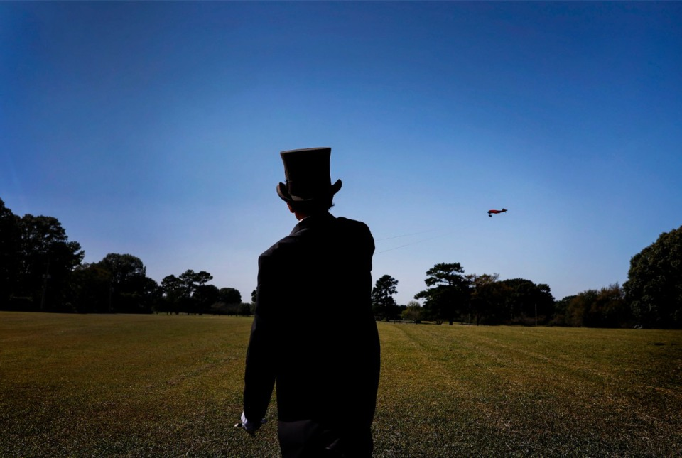 <strong>Lester Goldsmith wearing a circus ringmaster costume maneuvers his Ringmaster airplane while flying on Thursday, Oct. 1, 2020 at Audubon Park.</strong> (Mark Weber/The Daily Memphian)