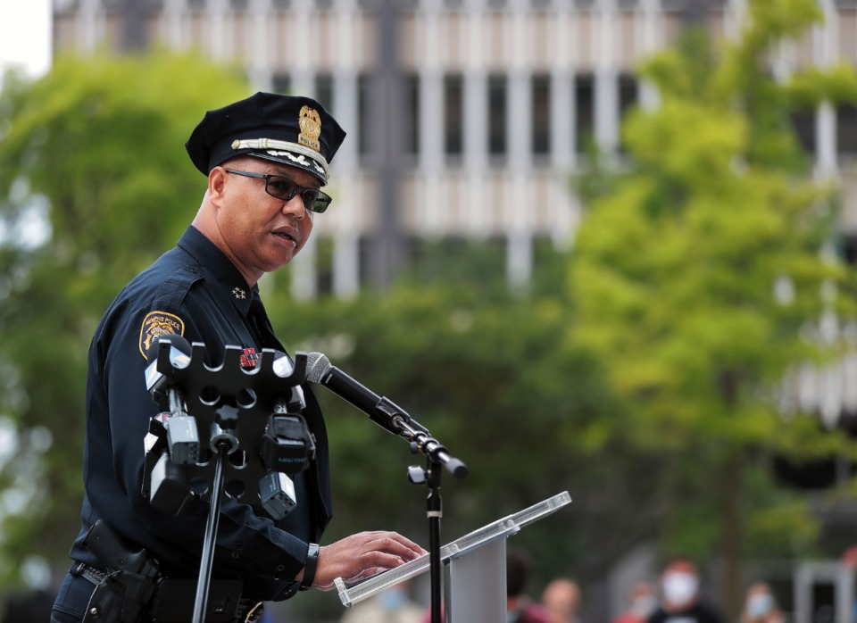 <strong>Memphis Police Department director Michael Rallings speaks at the George Floyd memorial at Civic Center Plaza in Downtown Memphis June 8, 2020.</strong> (Patrick Lantrip/Daily Memphian)