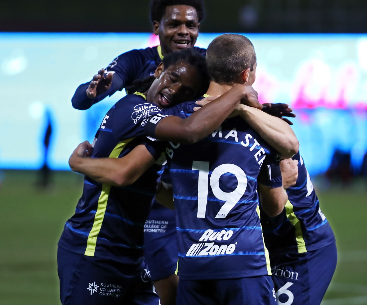 <strong>Memphis 901 FC players celebrate a goal during the last home game of the year against the Birmingham Legion Oct. 3, 2020.</strong> (Patrick Lantrip/Daily Memphian)
