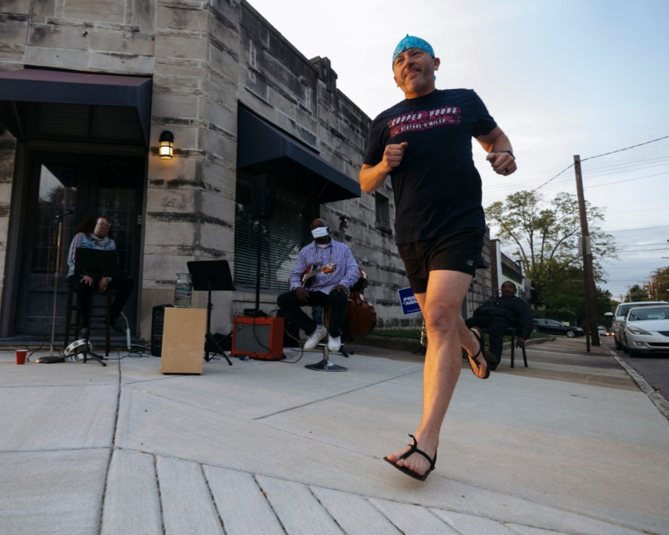 <strong>David Lindsey is one of about 300 runners who participated in the&nbsp; annual 4-miler in Cooper Young Saturday, Oct.&nbsp; 3, 2020. Participants chose their own routes to avoid crowding.</strong> (Ziggy Mack/Special to Daily Memphian)