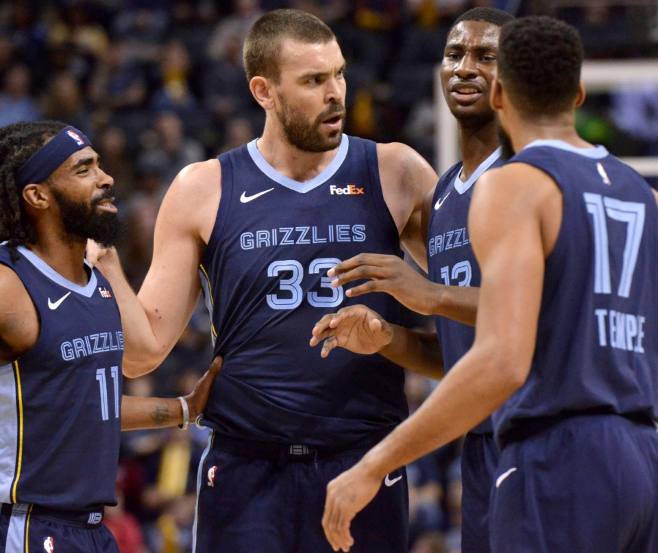 <strong>From left, Memphis Grizzlies guard Mike Conley (11), center Marc Gasol (33), forward Jaren Jackson Jr. (13) and guard Garrett Temple (17) talk on the court on Dec. 26, 2018,at FedExForum.</strong> (Brandon Dill/AP file)