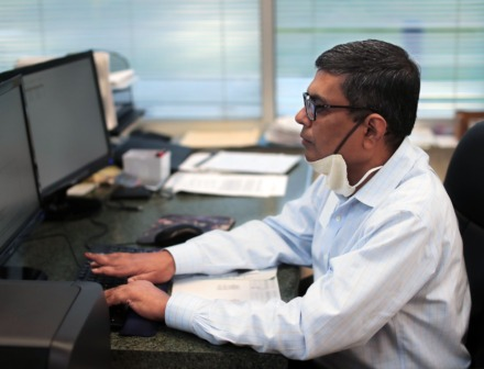 <strong>Dr. Anami Patel works on his computer at Poplar Healthcare Sept. 22, 2020.</strong> (Patrick Lantrip/Daily Memphian)