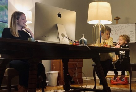 <strong>Alexandra Shockey, manager, global social media for FedEx Corp., has company in her home office: sons John, 6, (middle) and Graham, 1.</strong> <em>(Submitted)</em>