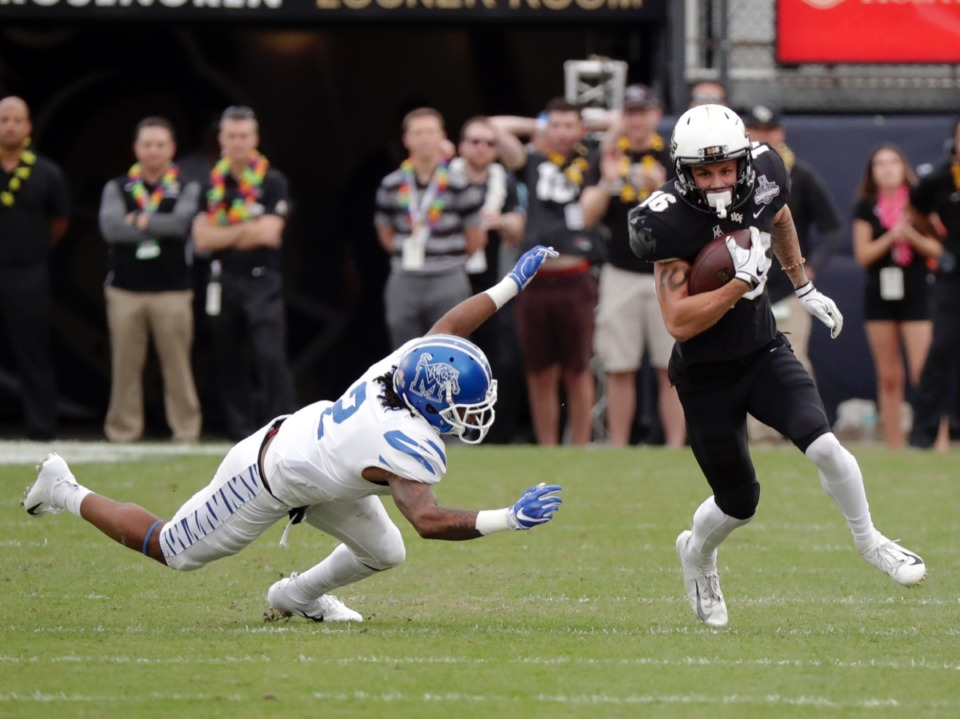 <strong>Central Florida wide receiver Tre Nixon, right, runs past Memphis defensive back T.J. Carter after a reception during the first half of the American Athletic Conference championship NCAA college football game, Saturday, Dec. 1, 2018, in Orlando, Fla.</strong> (AP File/John Raoux)
