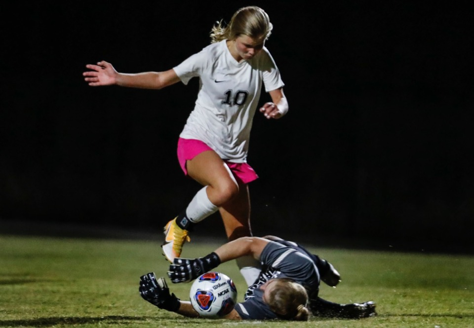 <strong>Houston forward Ruby Langford (top) moves the ball by Collierville goalkeeper Maggie Ward (bottom) during action on Tuesday, Oct. 5, 2020.</strong> (Mark Weber/The Daily Memphian)
