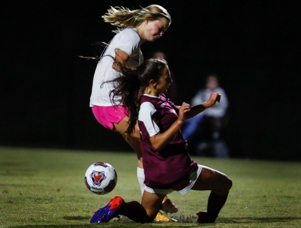 <strong>Houston forward Ruby Langford (left) is stopped from scoring a goal by Collierville defender Morgan Smrt (right) on Tuesday, Oct. 5, 2020.</strong> (Mark Weber/The Daily Memphian)
