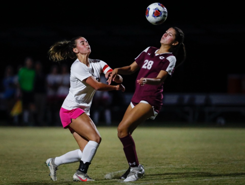<strong>Houston midfielder Parker Gelinas (left) battles Collierville defender Mckayla Desouza (right) for the ball on Tuesday, Oct. 5, 2020.</strong> (Mark Weber/The Daily Memphian)