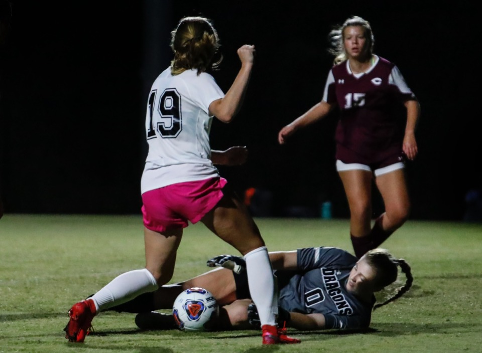 <strong>Collierville goalkeeper Maggie Ward (bottom) grabs the ball away from Houston forward Emma Riales (top) on Tuesday, Oct. 5, 2020.</strong> (Mark Weber/The Daily Memphian)