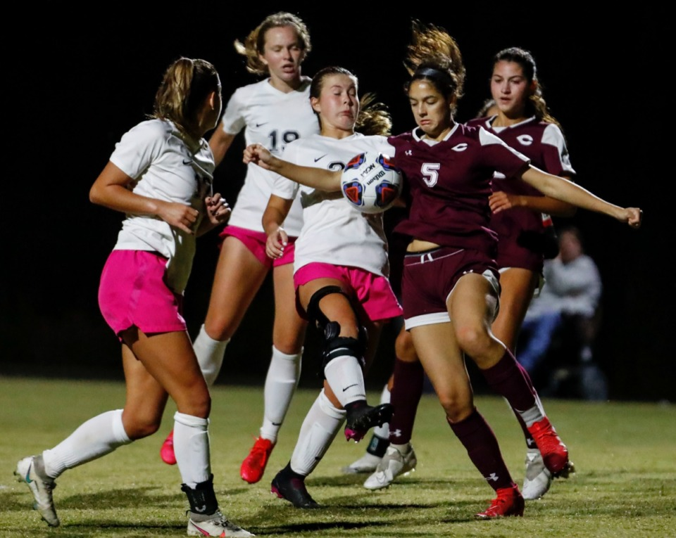 <strong>Houston midfielder Gertie Langford (right) battles Collierville defender Emerson Suhoza (right) for the ball during a corner kick on Tuesday, Oct. 5, 2020.</strong> (Mark Weber/The Daily Memphian)