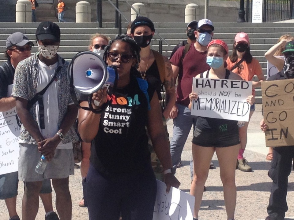 <strong>Tonia Andalusz of Thompson&rsquo;s Station speaks in Nashville to protesters June 10, 2020, in support of removing the Nathan Bedford Forrest bust from the State Capitol.</strong>&nbsp;(Sam Stockard/Daily Memphian)