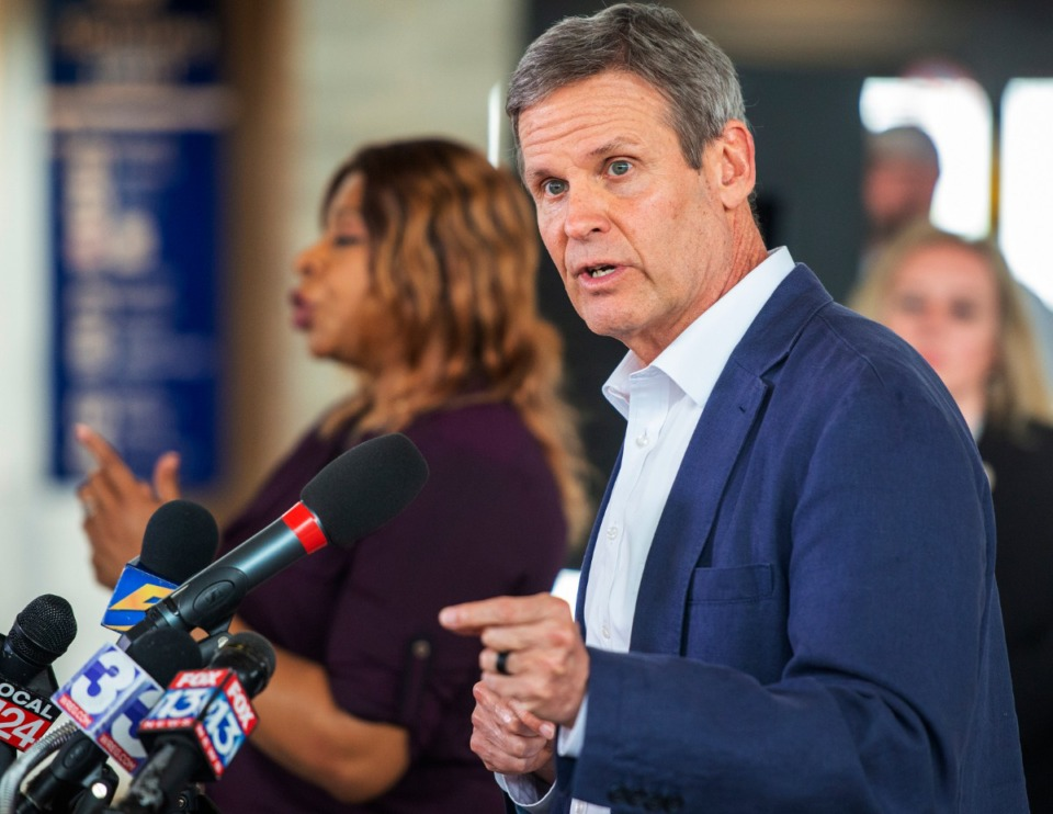 <strong>Governor Bill Lee takes questions after his daily press briefing on the status of the Covid-19 virus in the State at the Memphis International Airport in March 2020.</strong> (Greg Campbell/Special for The Daily Memphian)