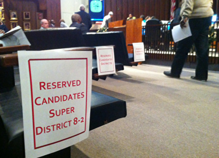 <strong>Reserved seats for those under consideration for three Memphis City Council appointments provided a front-row view as the body again delayed filling the District 1 vacancy. Council members will attempt to fill all three vacancies in January.</strong> (Bill Dries/Daily Memphian)