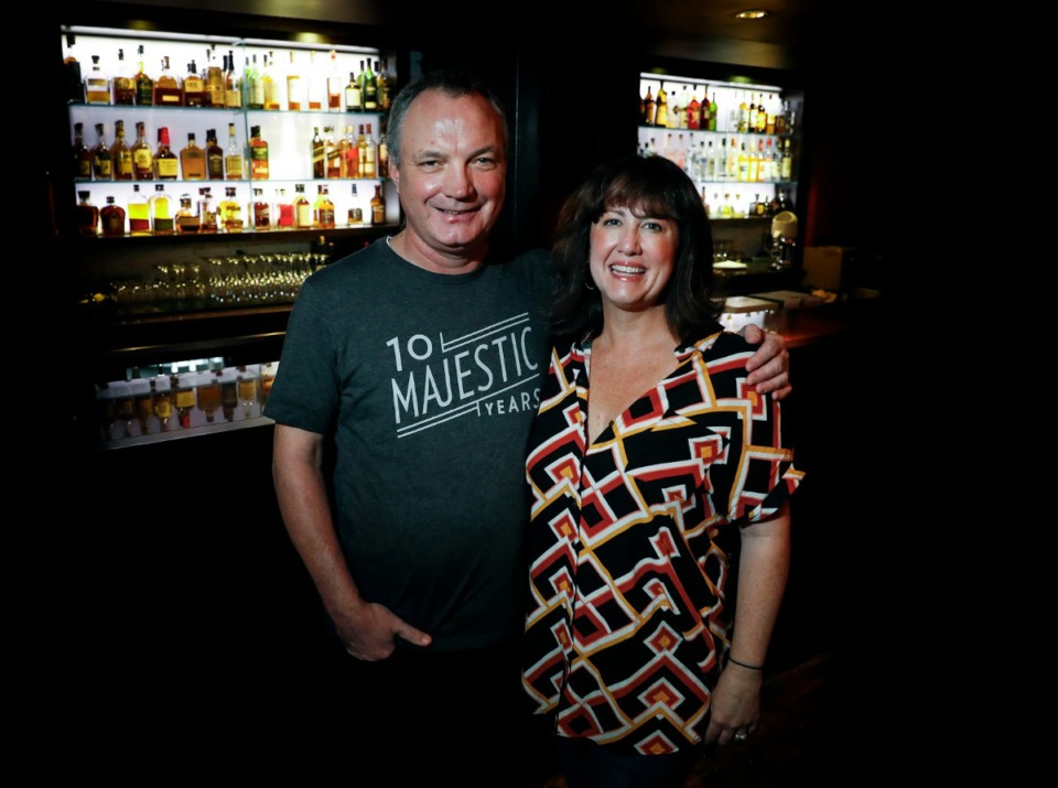 <strong>Patrick and Deni Reilly, owners of The Majestic Grille, stand in the popular Main Sreet dining room on Thursday, Oct. 8, 2020.</strong>&nbsp;(Mark Weber/The Daily Memphian)