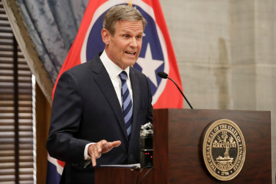 <strong>Tennessee Gov. Bill Lee (shown during a July news conference in Nashville) said this week he supports the state Legislature reviewing executive powers to determine whether changes should be made.</strong> (Mark Humphrey/Associated Press file)