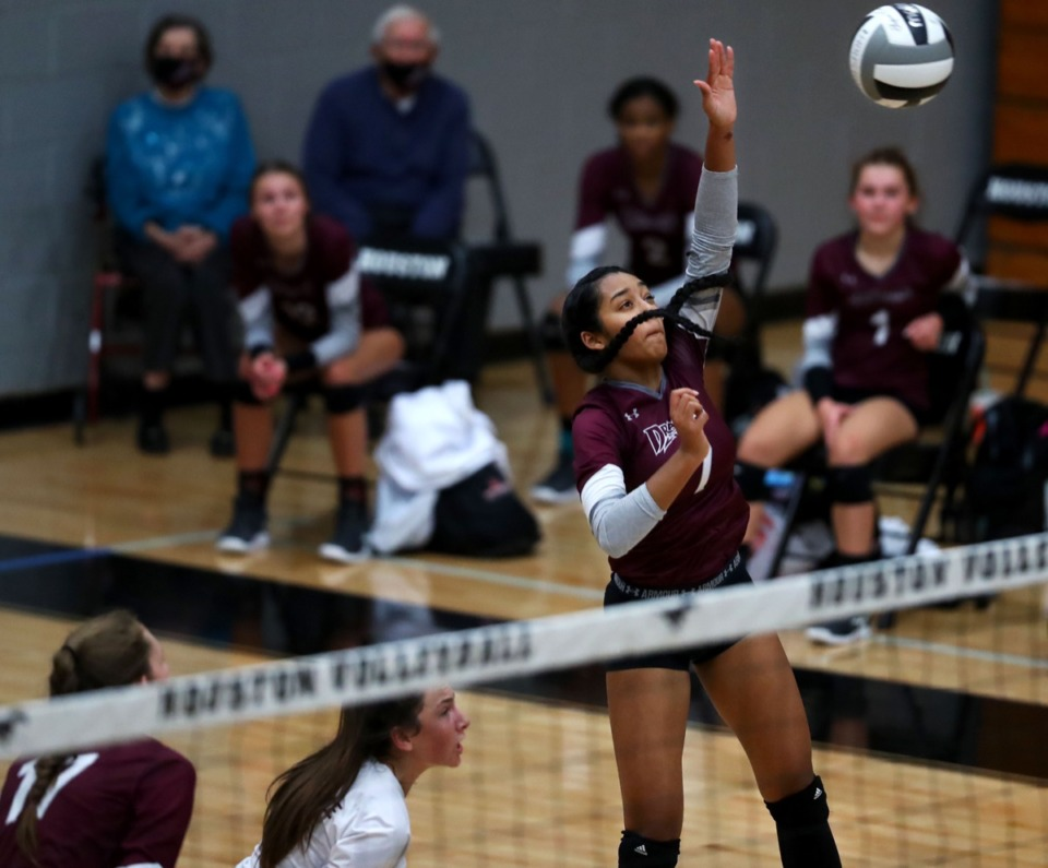<strong>Collierville High School's Tia Rizvi (7) goes up for a spike during an Oct. 8, 2020, game against Houston High School.</strong> (Patrick Lantrip/Daily Memphian)