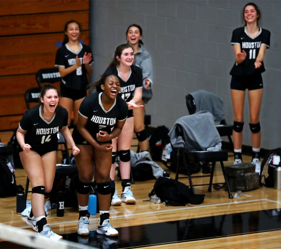 <strong>The Houston volleyball team celebrates a win over rival Collierville on Oct. 8, 2020.</strong> (Patrick Lantrip/Daily Memphian)